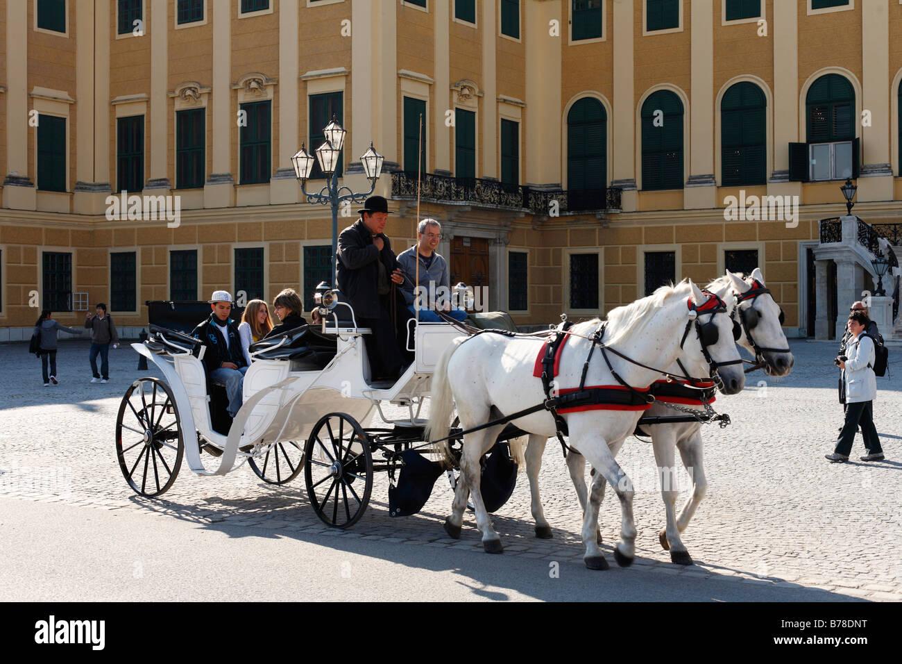 Hackney carriage, fiaker in front of Schloss Schoenbrunn, Schoenbrunn Castle, Vienna, Austria, Europe - Stock Image
