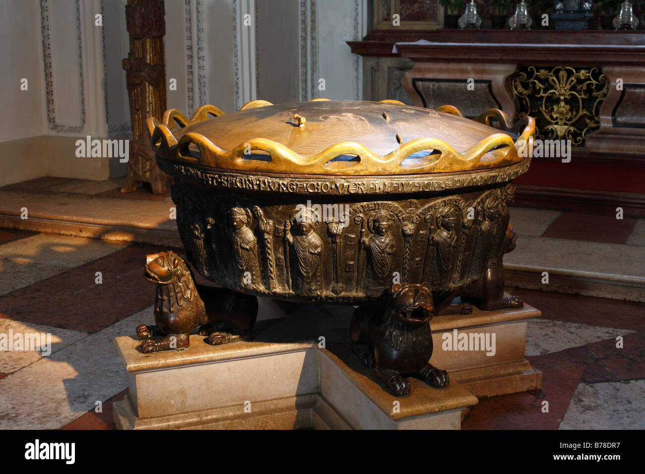 Baptismal font in St. Rupert und Virgil cathedral, Salzburg, Austria, EuropeStock Photo