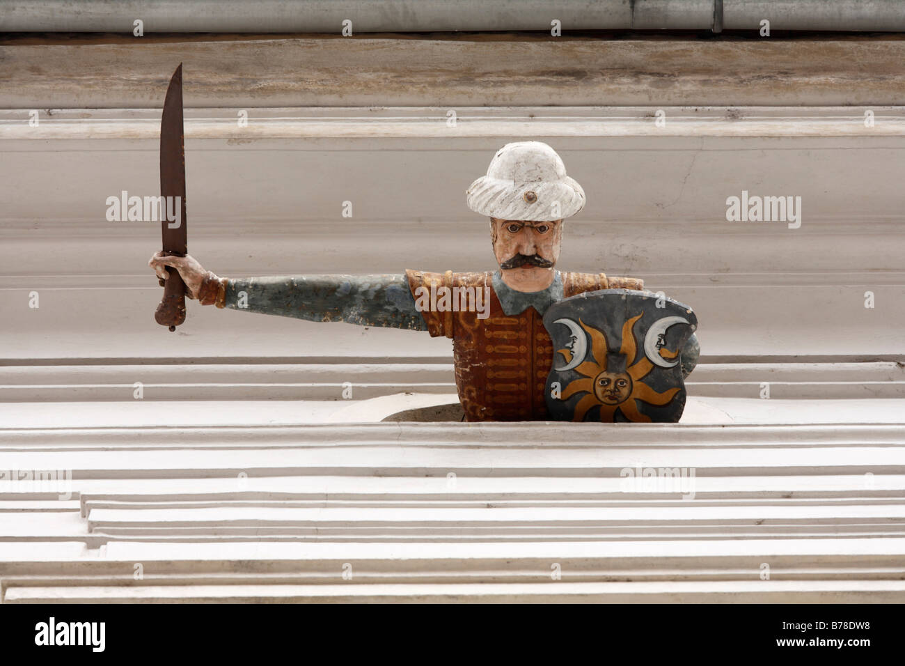 The Turk, a wooden figure on Palais Saurau in Sporgasse, Graz, Styria, Austria, Europe - Stock Image