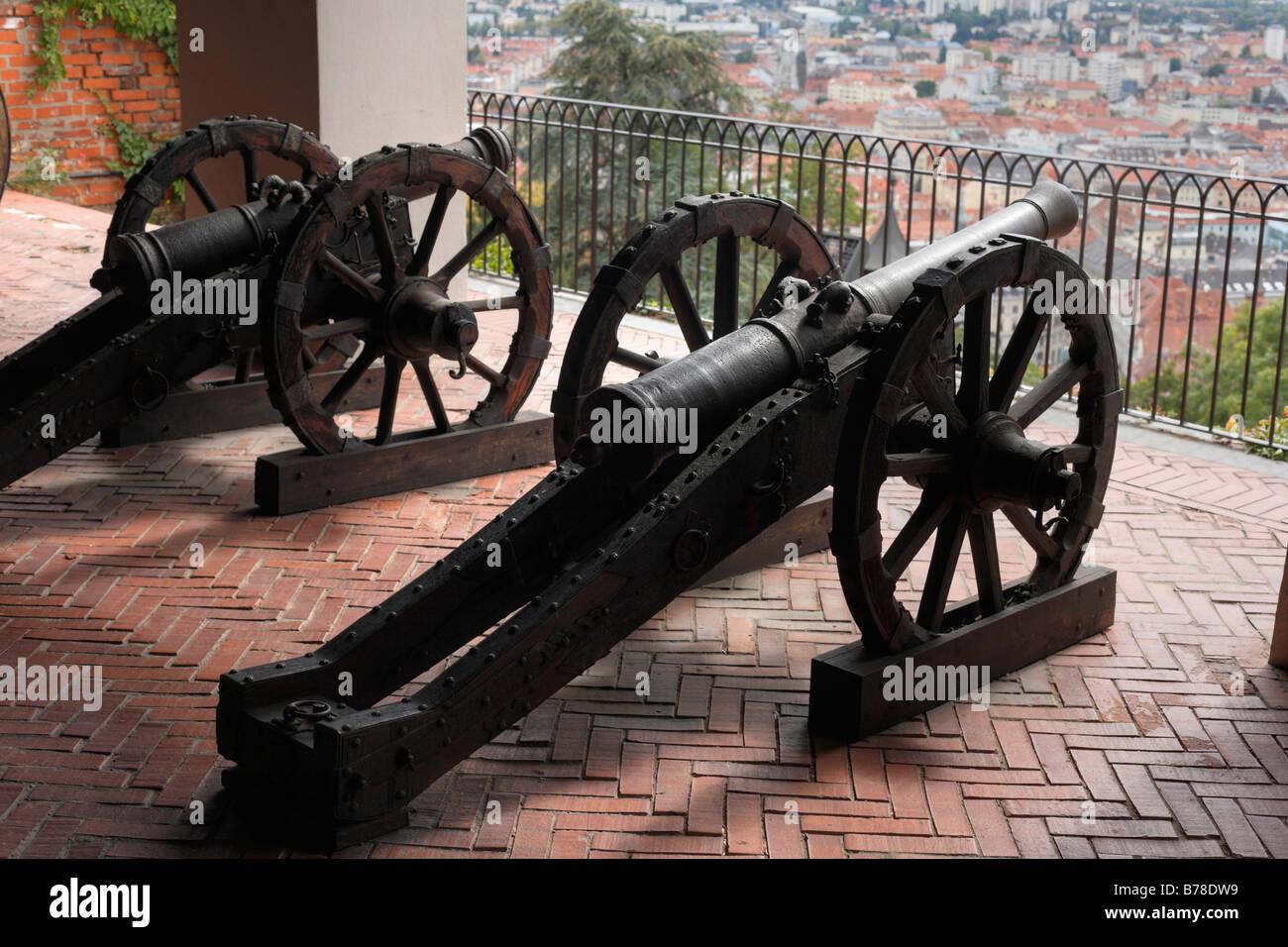 Cannons on Schlossberg, castle mountain, Graz, Styria, Austria, EuropeStock Photo