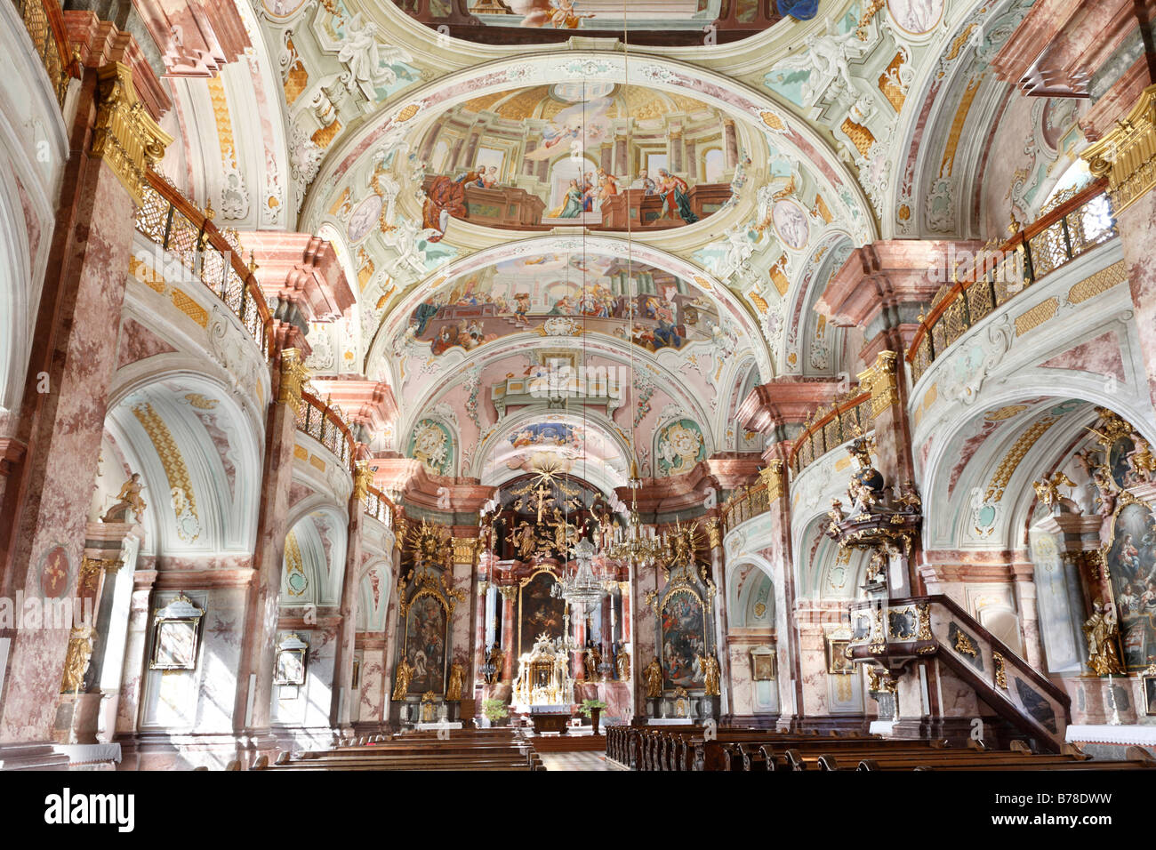 Interior, Stiftskirche, Collegiate church, Cistercian monastery, Rein Abbey, Styria, Austria, Europe - Stock Image