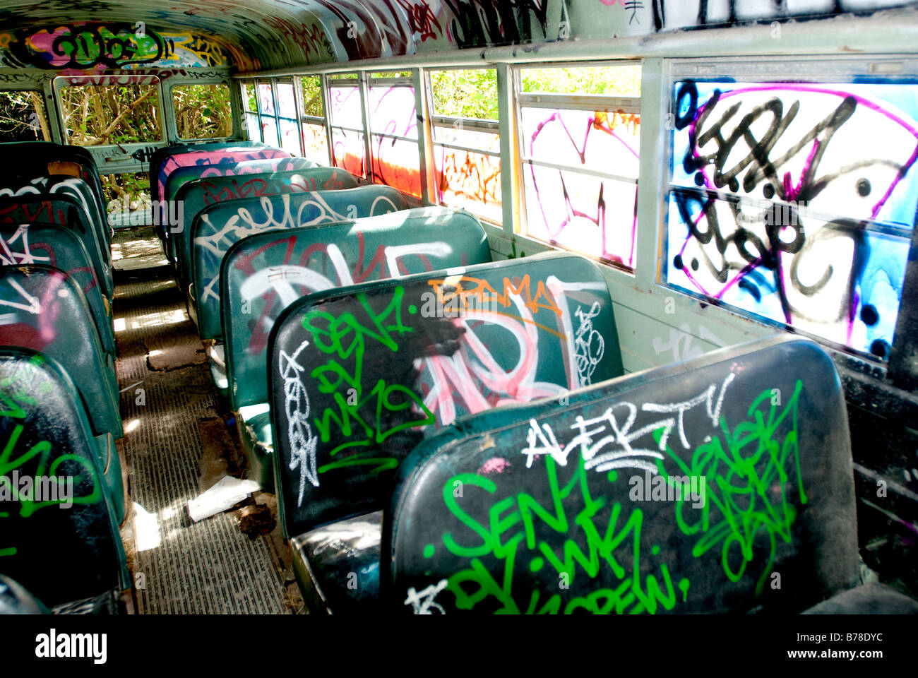 Colorful spray painted graffitti in old abandoned school bus, Miami, Florida. - Stock Image
