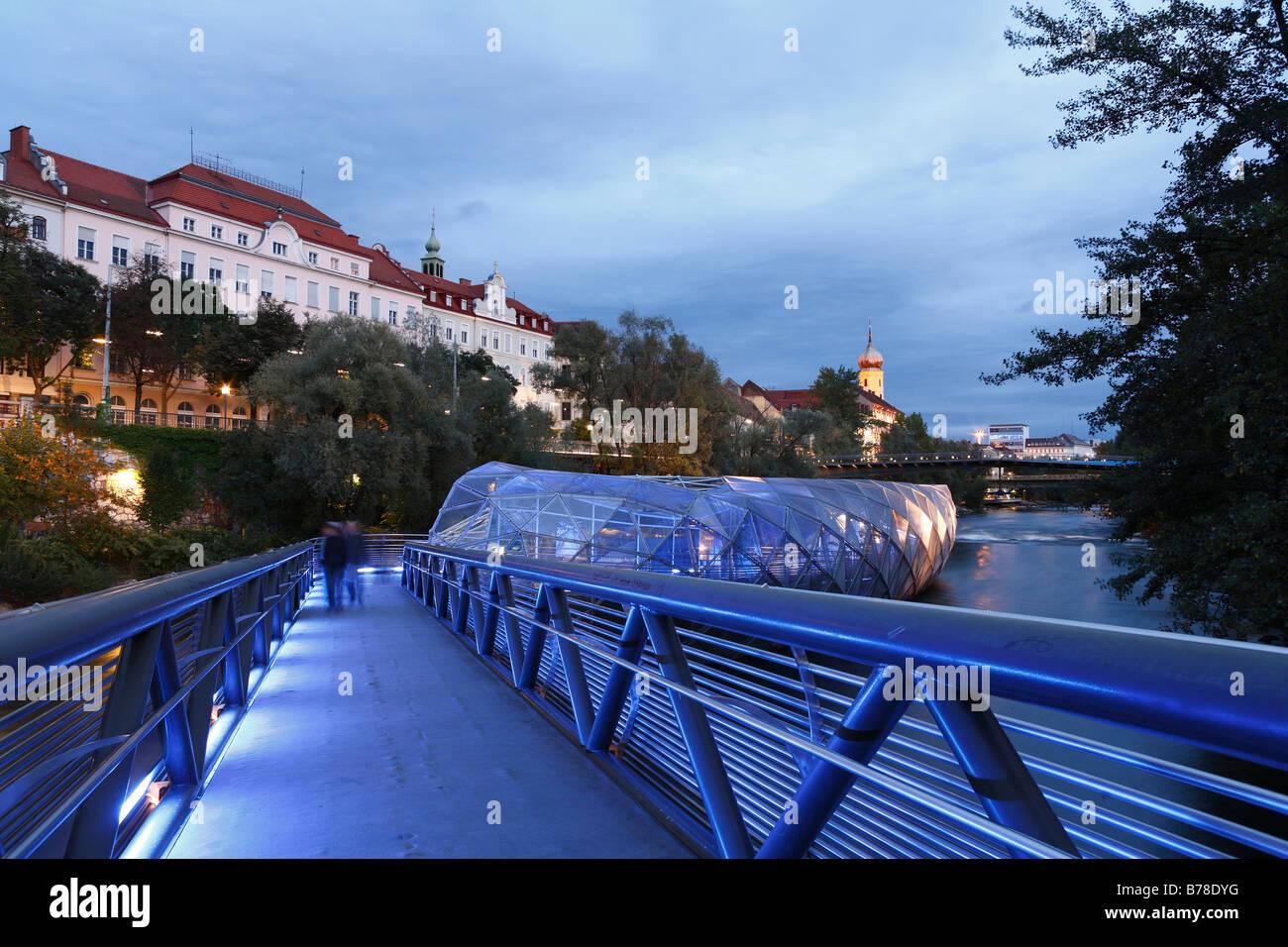 Murinsel, Mur Island on Mur River, Graz, Styria, Austria, Europe - Stock Image