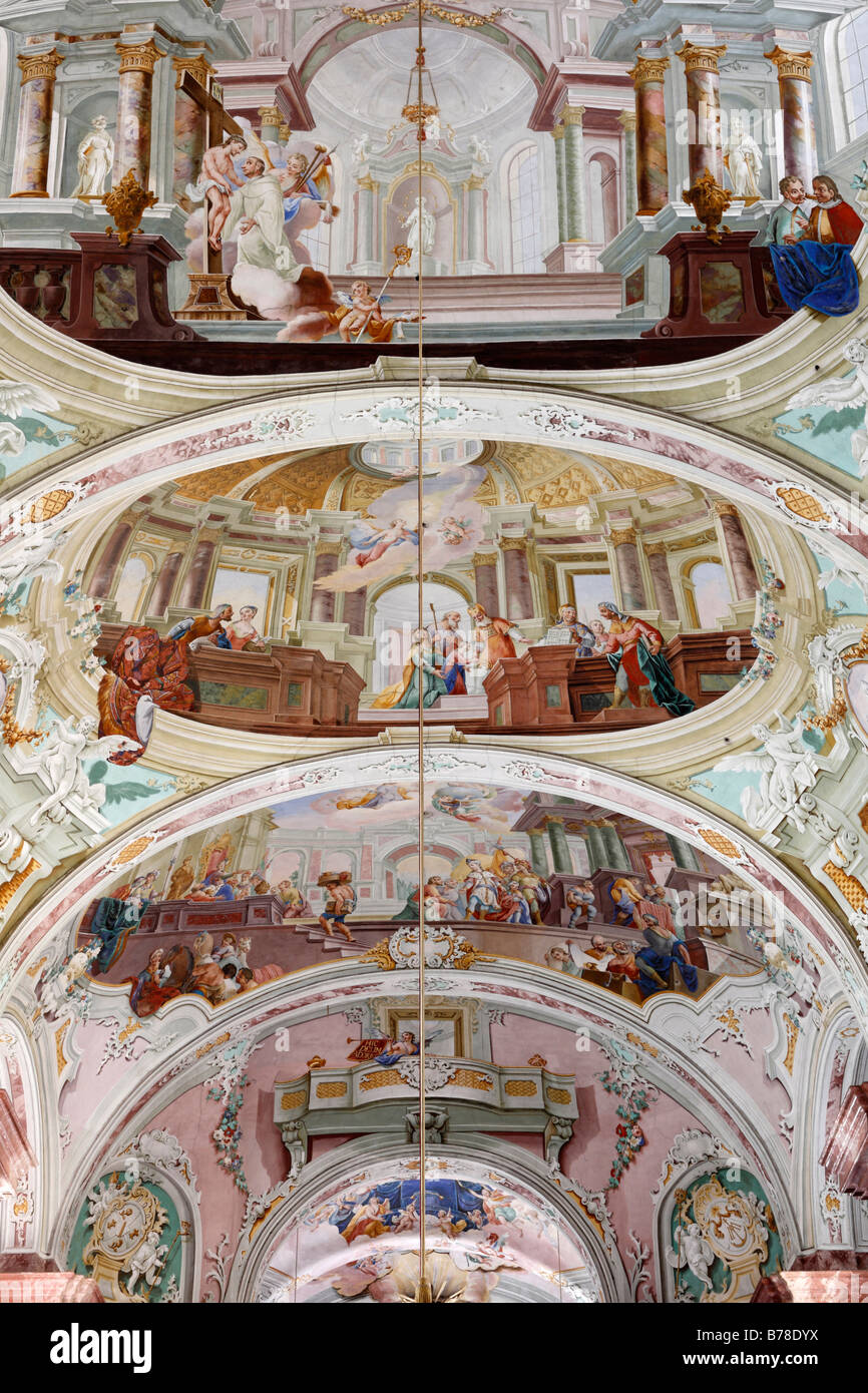 Ceiling fresco, Stiftskirche, Collegiate church, Cistercian monastery, Rein Abbey, Styria, Austria, Europe - Stock Image