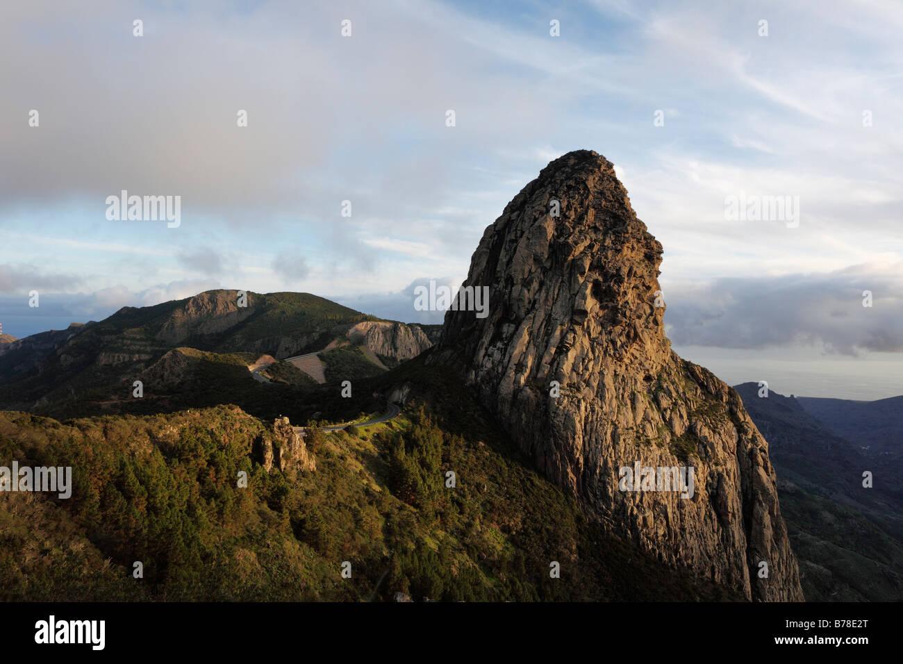 Mt Roque de Agando, view from the 'Mirador Roque de Agando', La Gomera, Canary Islands, Spain, Europe - Stock Image