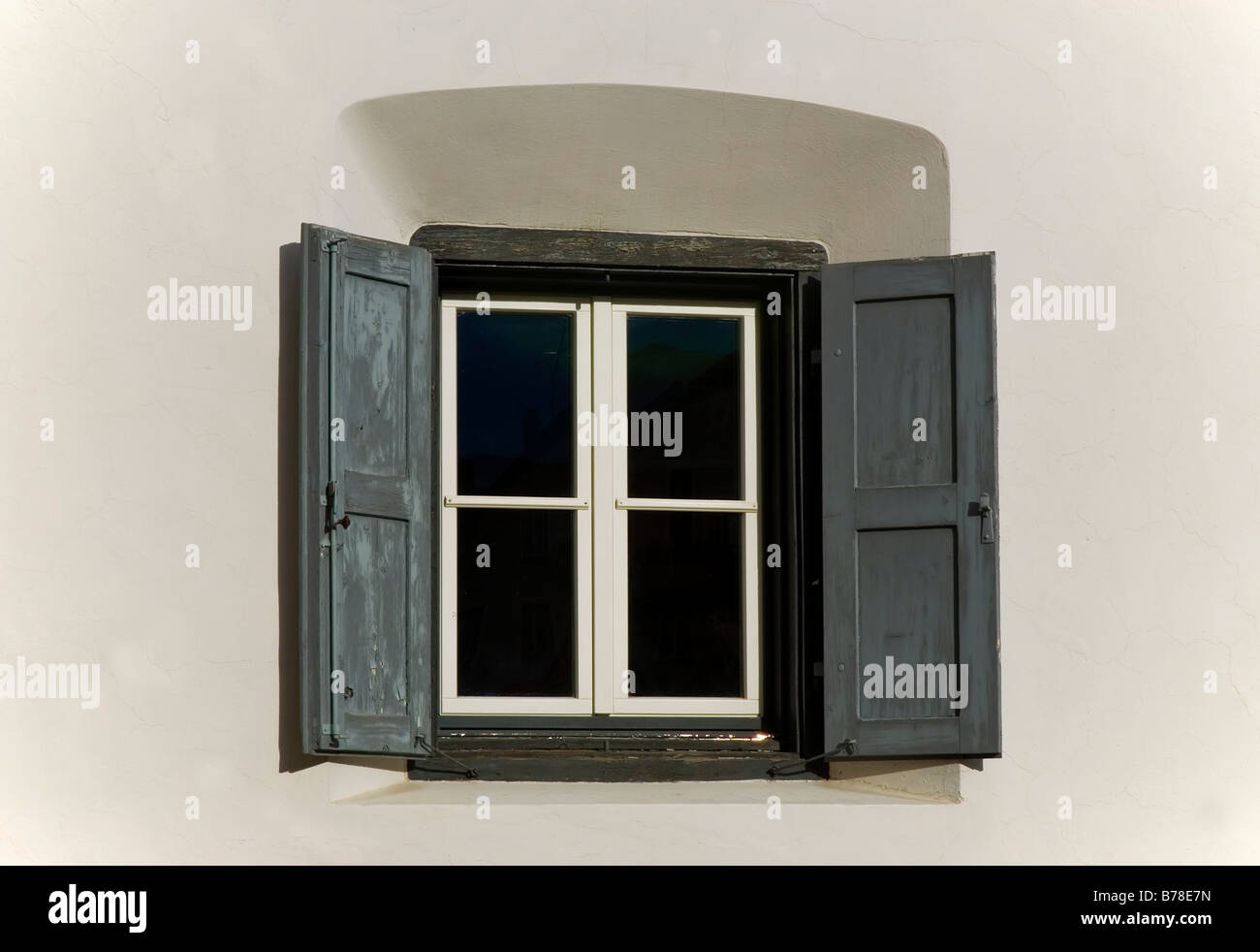 Window with window shutters, Sent, Lower Engadin, Canton of Graubuenden, Switzerland, Europe - Stock Image