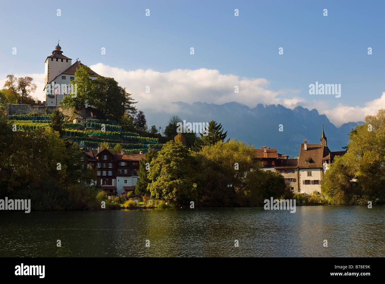 Werdenberg Castle and houses, in the back Alpstein Range, Grab municipality, Canton of St. Gallen, Switzerland, - Stock Image