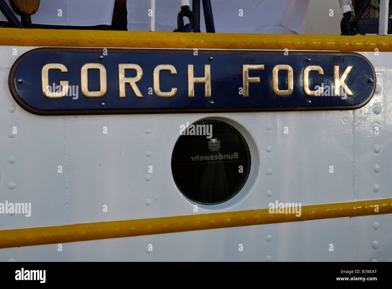 Gorch Fock written on the sail training ship of the German marine, Tirpitz harbour, jetty, Kiel, Schleswig-Holstein, - Stock Image