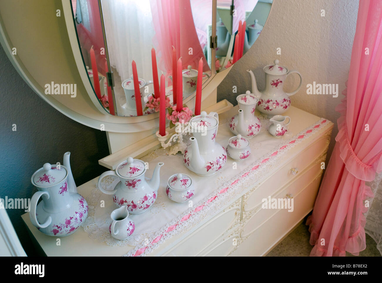 Teapots on a dressing table, Germany, Europe - Stock Image