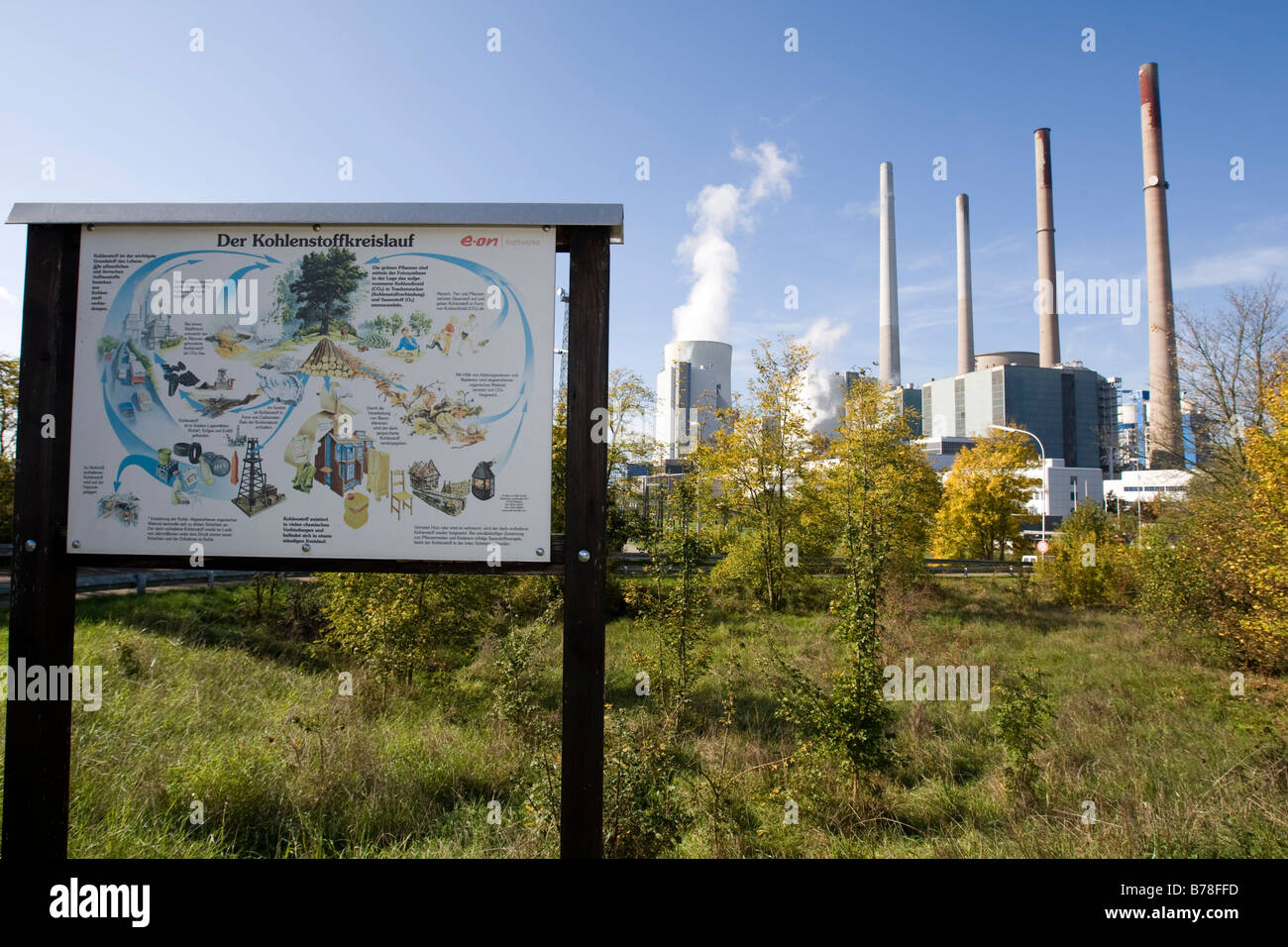 Sign illustrating the cycle of carbon, steam plant of company Eon, Grosskrotzenburg, Hesse, Germany, Europe - Stock Image