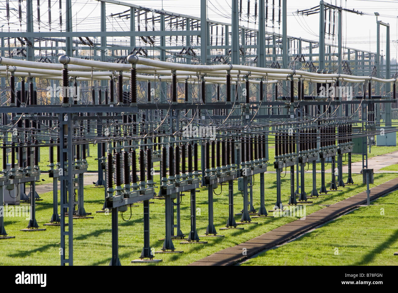 Transformer station, electric utility at steam plant of company Eon, Grosskrotzenburg, Hesse, Germany, Europe Stock Photo