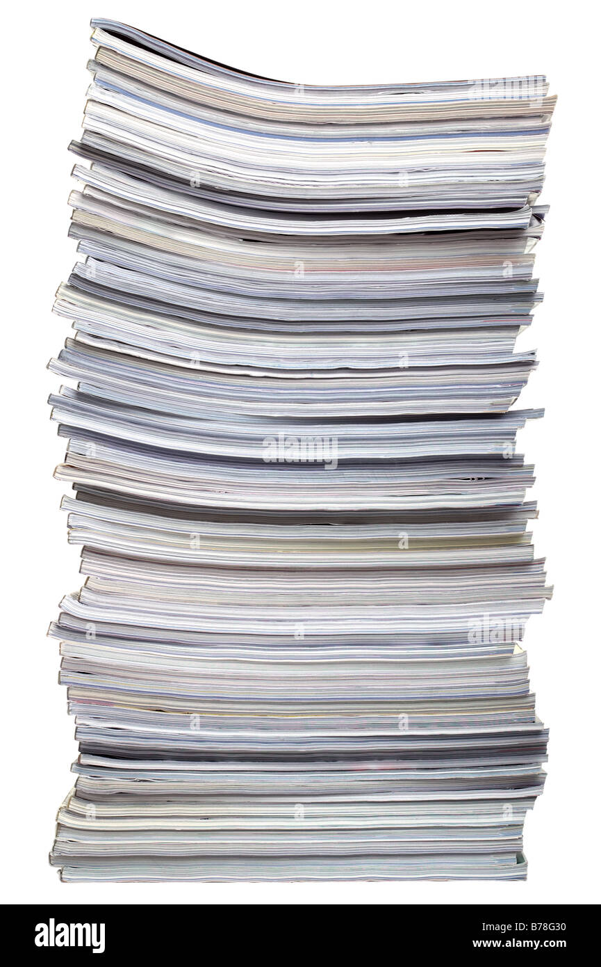 A stack of magazines isolated on a white background - Stock Image