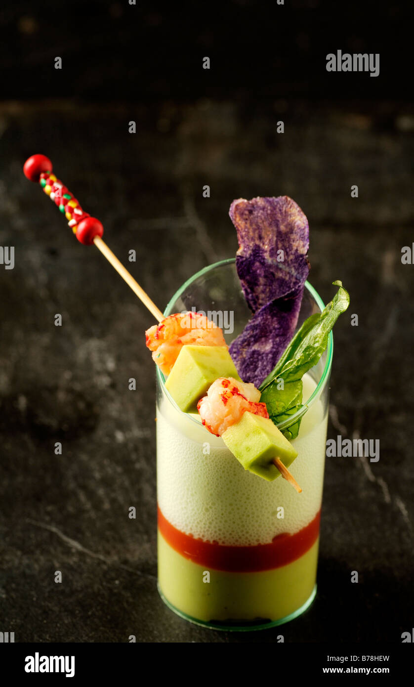 'Apéros', Avocado and crayfish with spume of tzatsiki, Haute Cuisine, Labaroche, Alsace, France, Europe - Stock Image