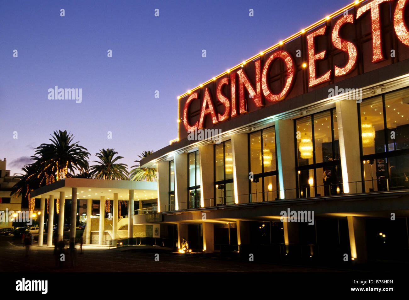 Casino Estoril in the evening, a casino in the tradition of modern architecture. Estoril, a mundane seaside resort - Stock Image