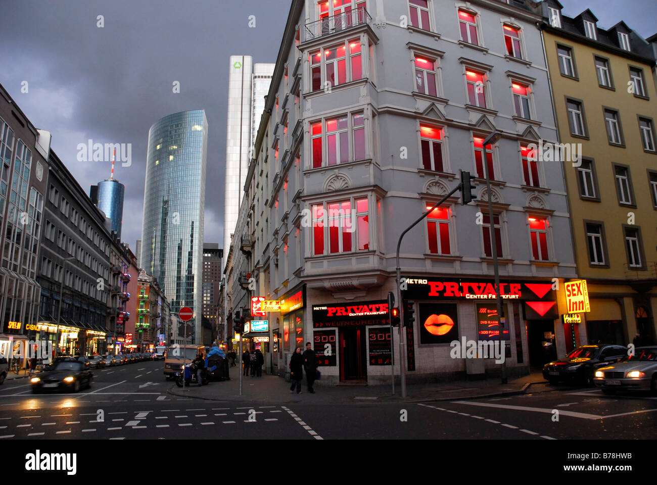 Redlight area in the Taunusstrasse between the main station and the banking district, Frankfurt am Main, Hessen, - Stock Image