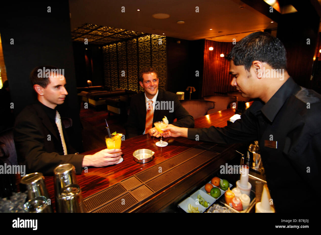 Nightclub guests in Kempinski Hotel at the Mall of the Emirates in Dubai, United Arab Emirates, UAE, Middle East Stock Photo