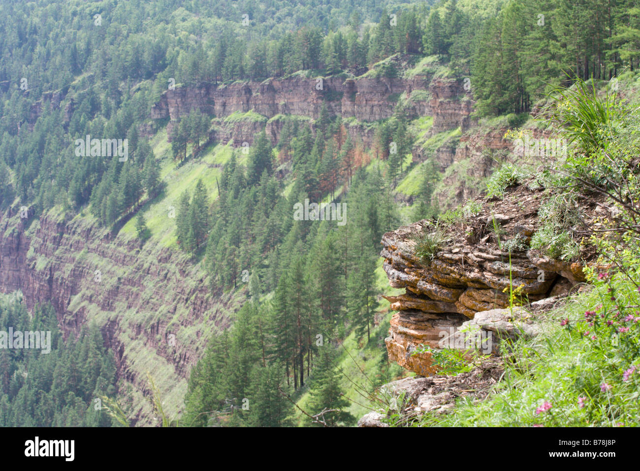 steepness riverbank of Irkut - Stock Image