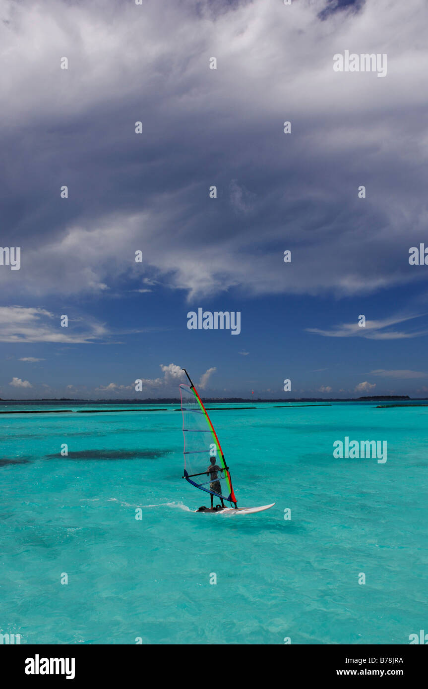 Windsurfer, Full Moon Resort, The Maldives, Indian Ocean - Stock Image