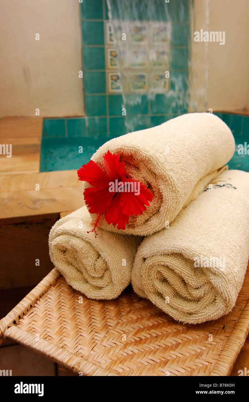 Rolled towels with flower adornment, Serena Spa, Laguna Resort, The Maldives, Indian Ocean - Stock Image