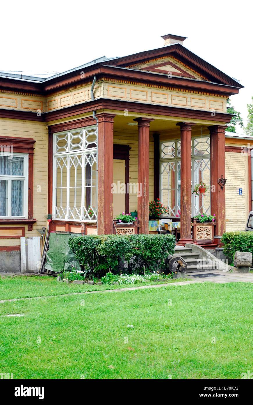 Summer house and garden, nostalgic noblesse with pillars in Majori, Baltic Sea resort Jurmala, Latvia, Baltic Sea, - Stock Image