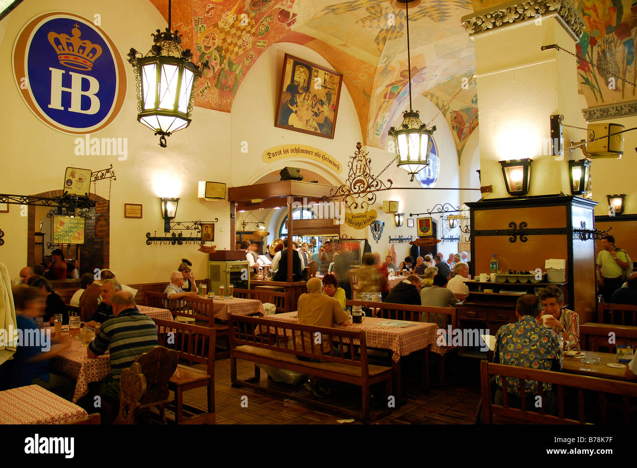 Bar and restaurant with rustic interior, Hofbraeuhaus bar parlour by ...