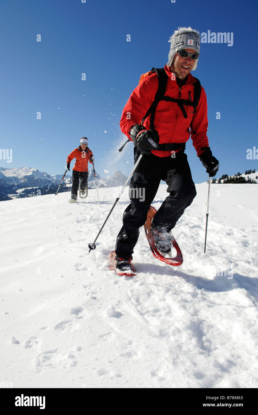 Snowshoe hikers, Zweisimmen, Rueblihorn, Gummfluh, Saanenland, Gstaad, West Alps, Bernese upper country, Switzerland, - Stock Image