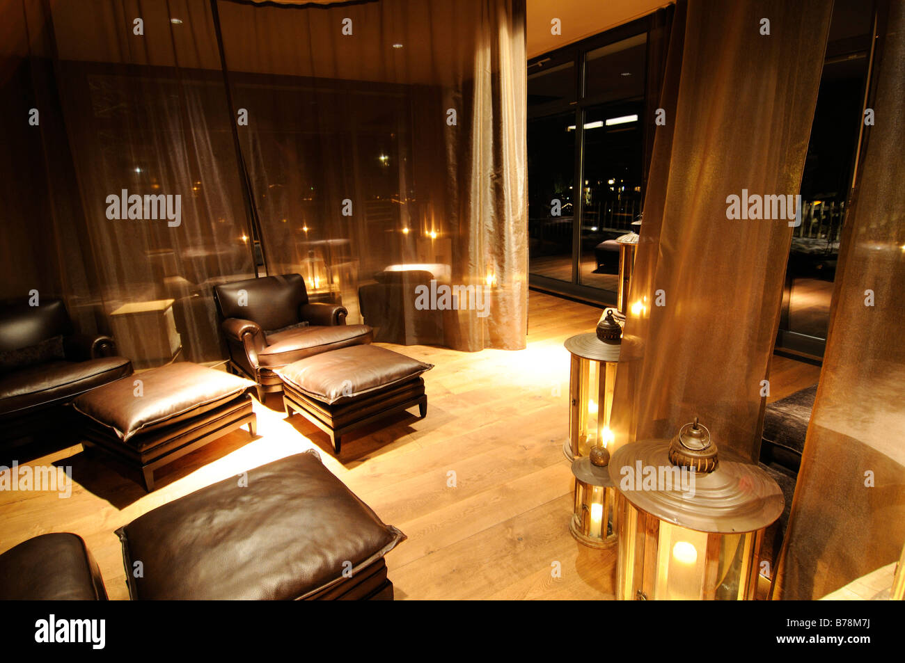 Wellness lounge in the spa area of Gstaad Palace Hotel, Gstaad Stock ...