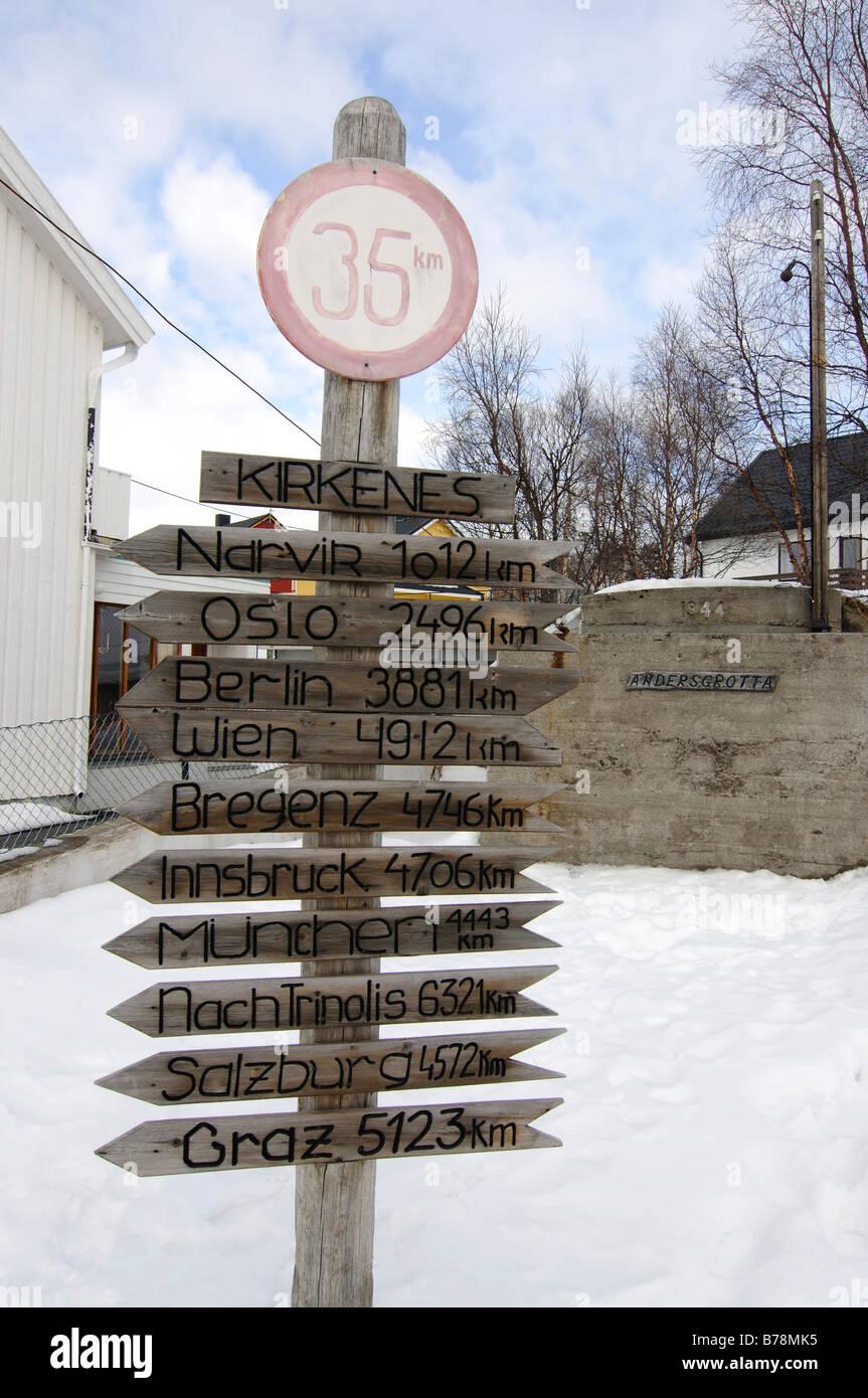 Distance indicators, Anders-Grotto, fortress, Kirkenes, Finnmark, Lapland, Norway, Scandinavia, Europe - Stock Image