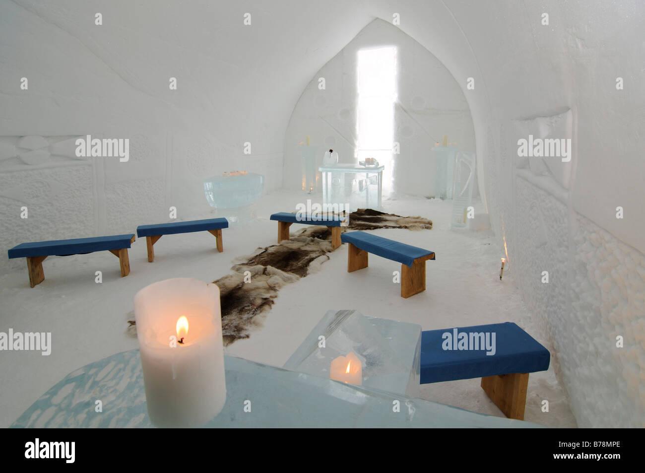 Igloo church, Icehotel Kakslauttanen, Ivalo, Lapland, Finland, Europe Stock Photo