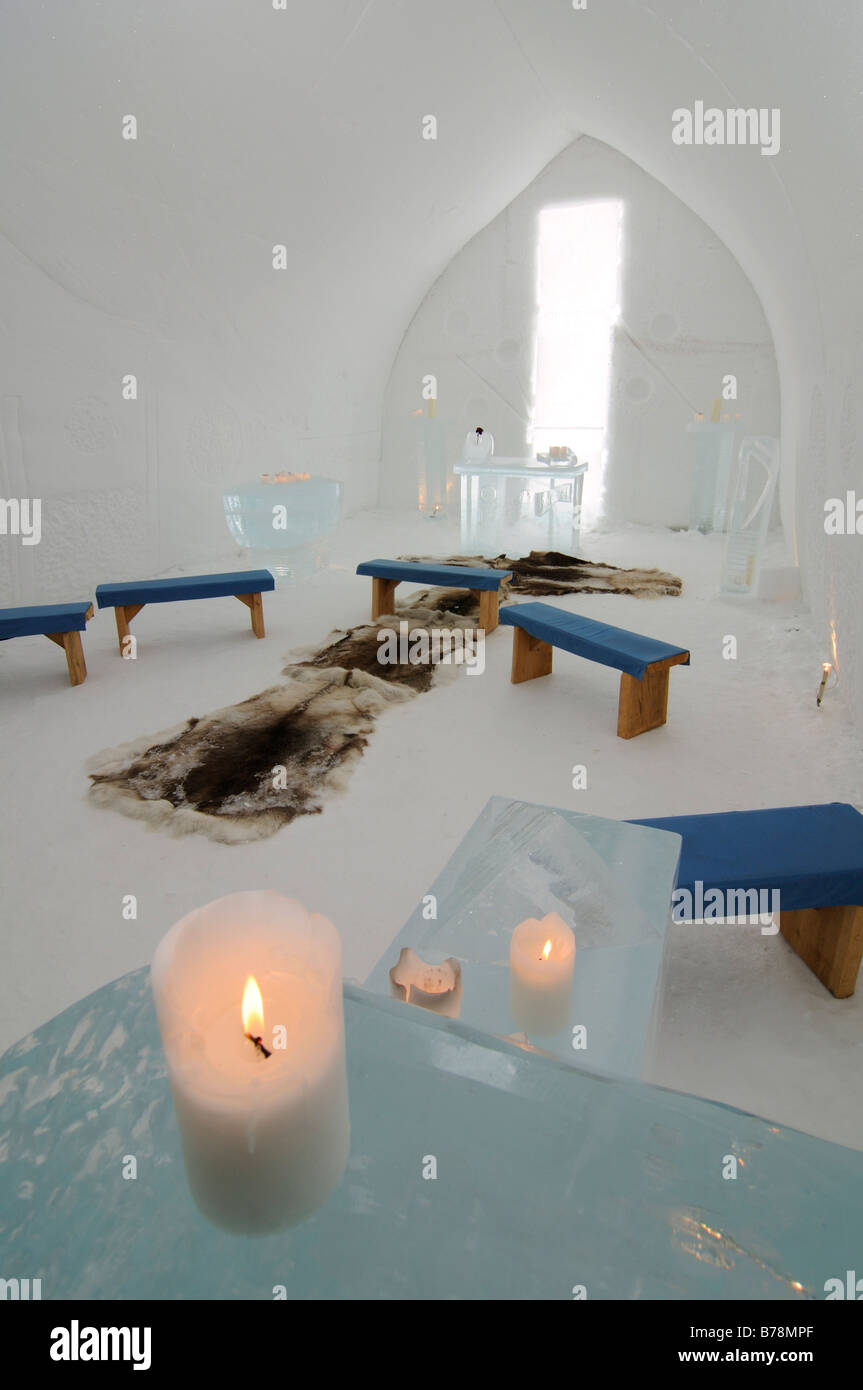 Igloo church, Icehotel Kakslauttanen, Ivalo, Lapland, Finland, Europe - Stock Image