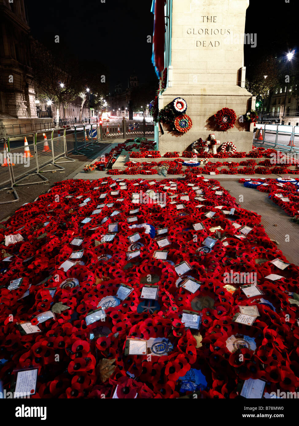 The Cenotaph at night. Portrait or upright format - Stock Image