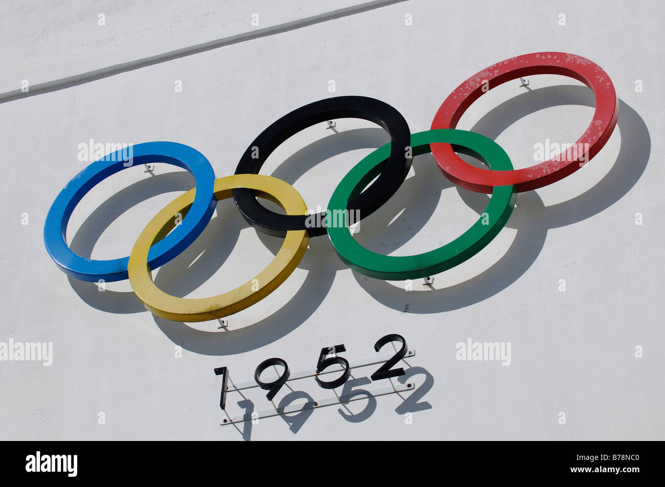 Olympic rings, 1952, Olympic stadium, Helsinki, Finland, Europe - Stock Image