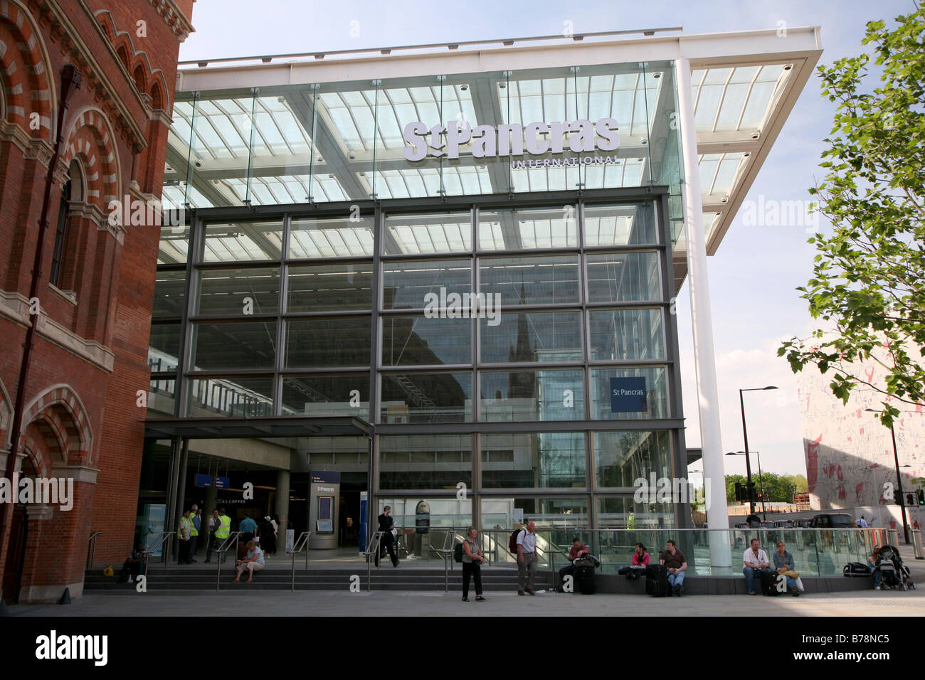 General View GV of St Pancras International train station in London England UK - Stock Image