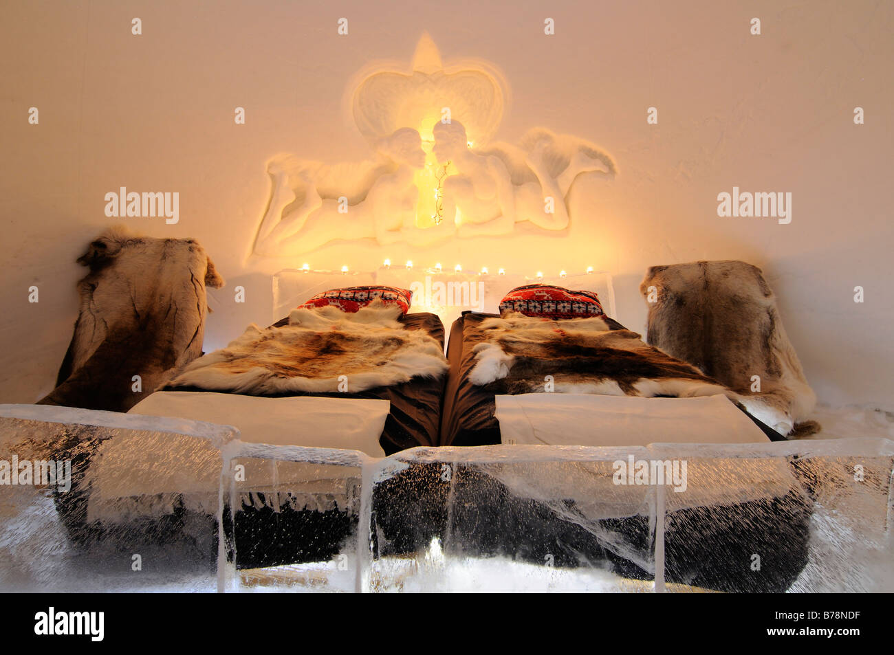 Honeymoon-room in an igloo, Snow Hotel, Kirkenes, Finnmark, Lapland, Norway, Scandinavia, Europe Stock Photo