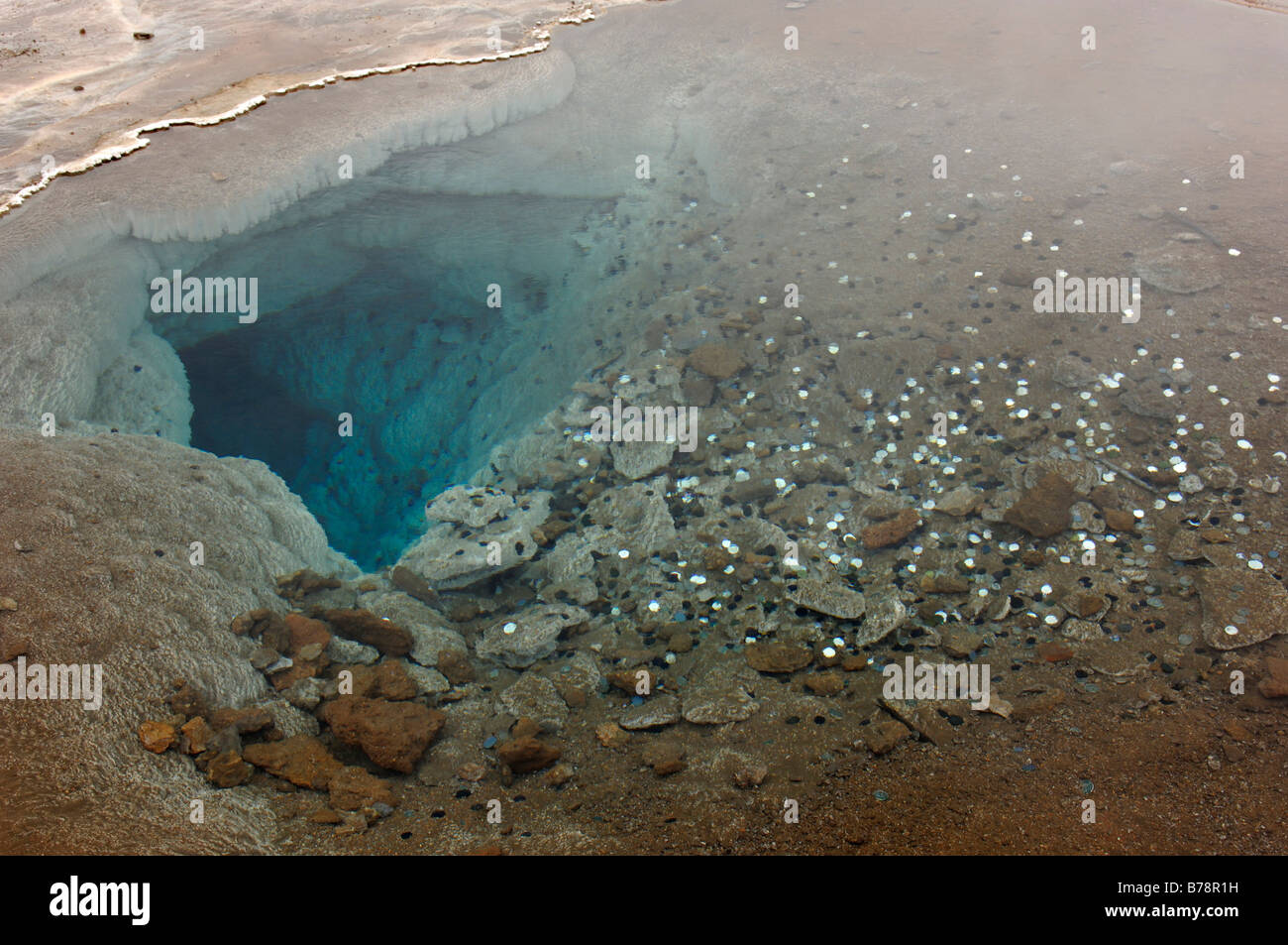 Coins in hot spring, geyser, Iceland, Europe - Stock Image