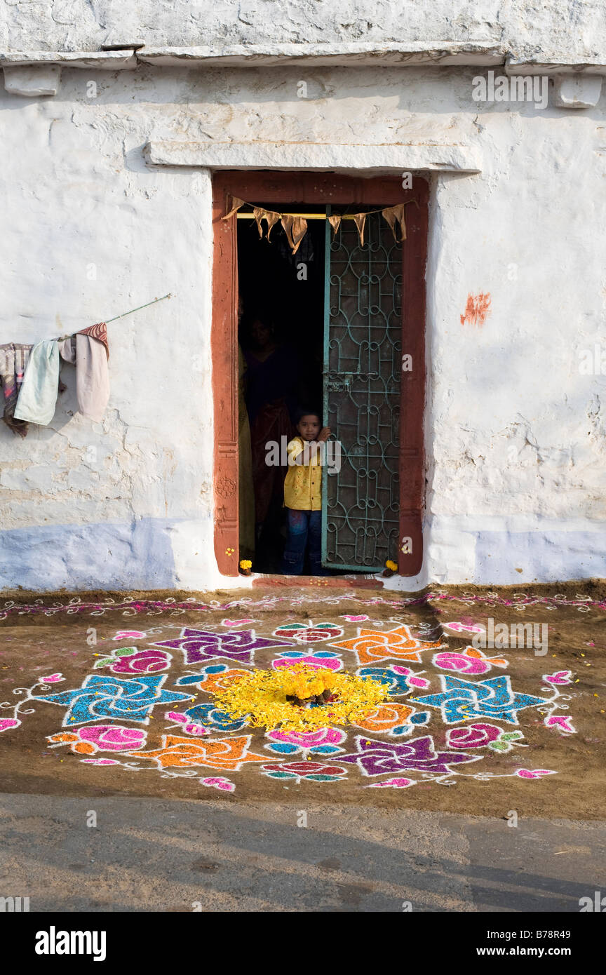 Rangoli Festival Design Outside A Rural Indian Village House With A Stock Photo Alamy