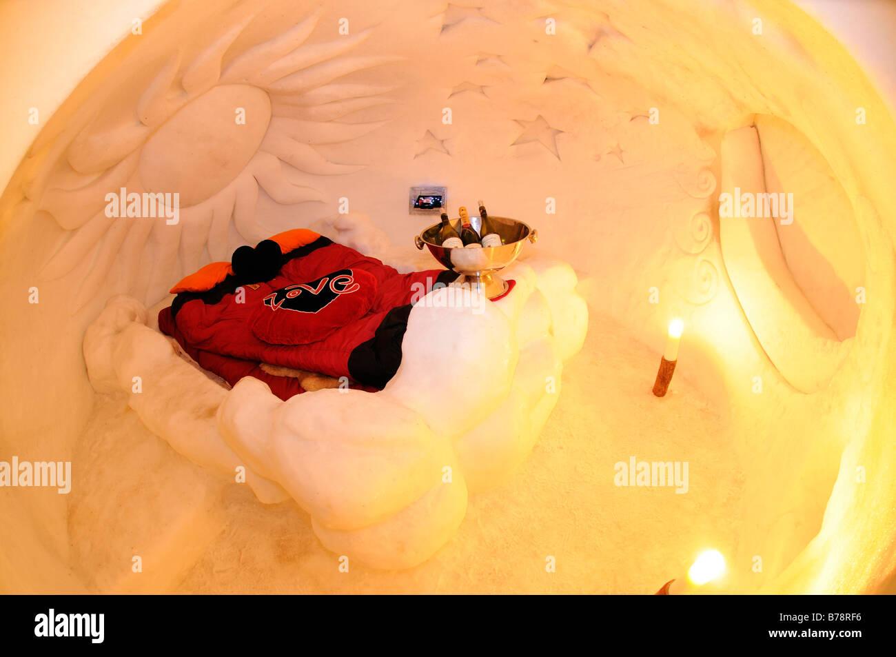 Ice suite in Gstaad Igloo Village, Iglu-Dorf at Eggli, Rueblihorn, Gstaad, West Alps, Bernese Oberland, Switzerland, - Stock Image