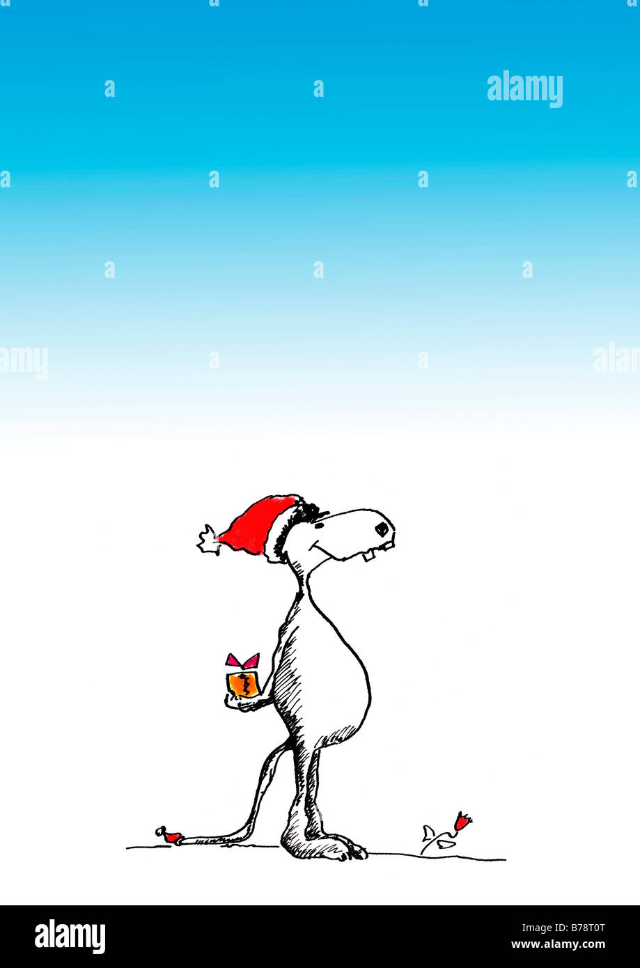 Illustration, Dog with Santa hat and Christmas parcel - Stock Image
