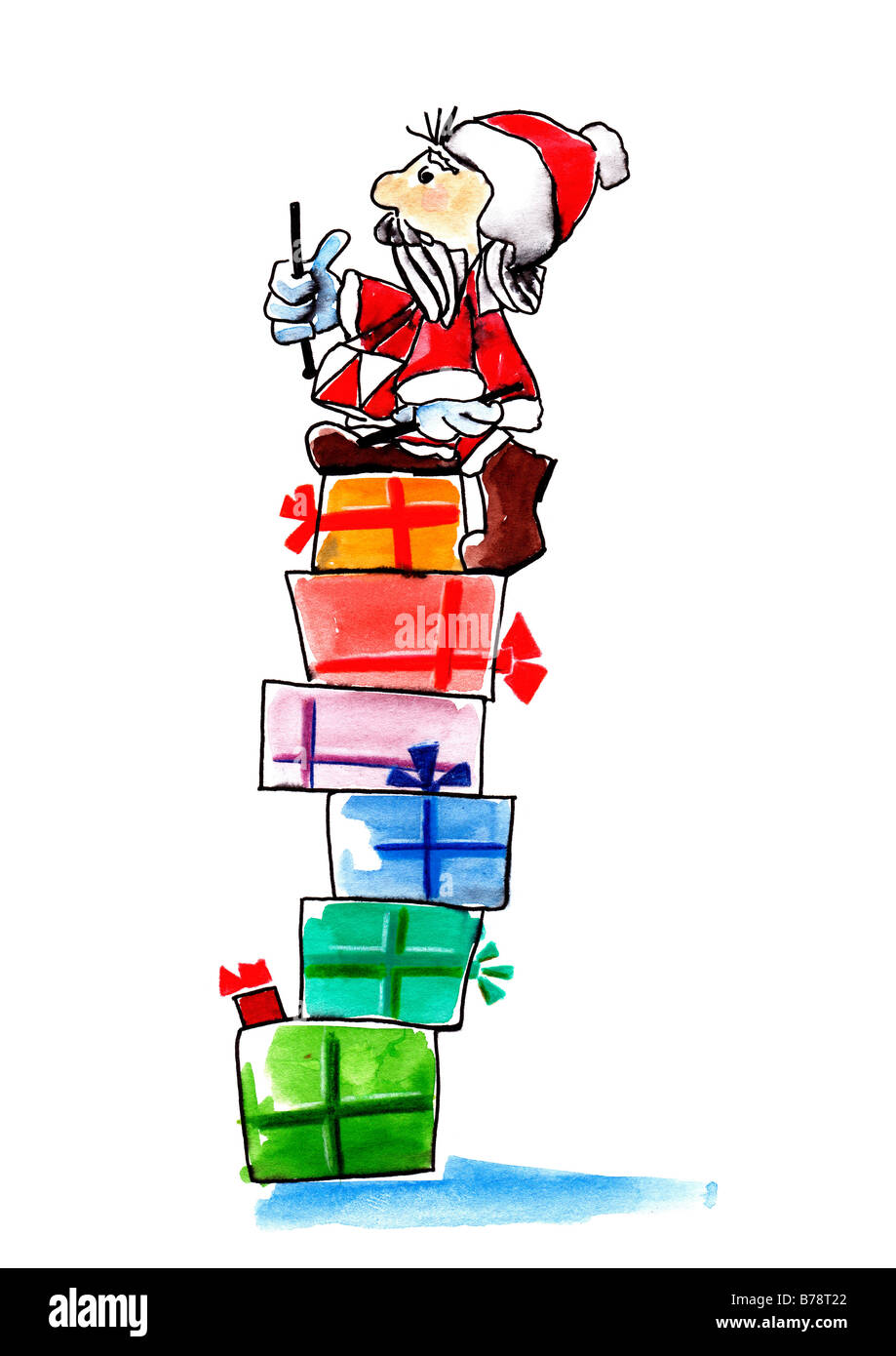 Illustration, Santa Claus with drums sitting on stack of Christmas parcels - Stock Image