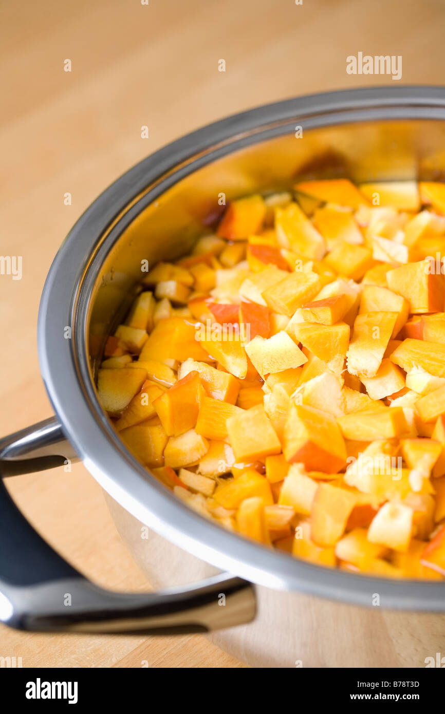 Sliced Hokkaido pumpkin in cooking pot, close-up Stock Photo