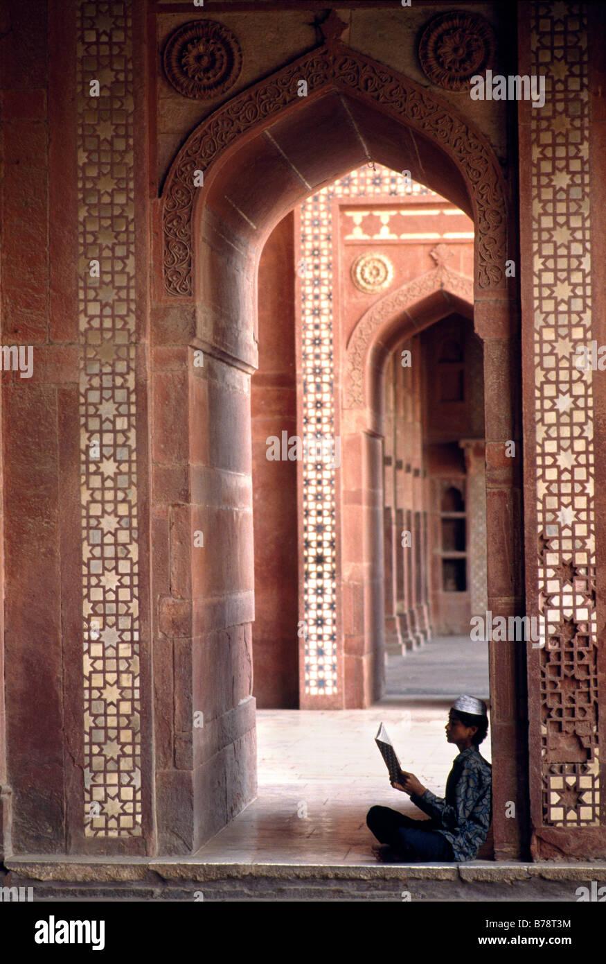 Muslim, prayer, Schah Jahan-mosque, Delhi, India, Asia - Stock Image