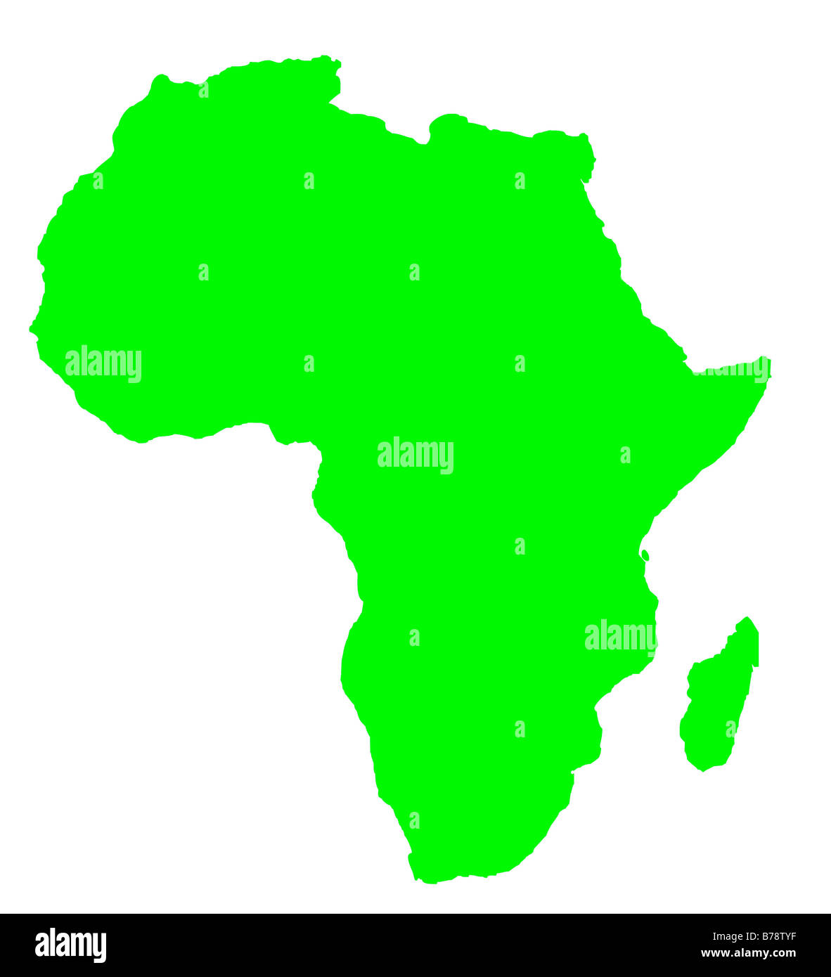 Outline Map Of Africa Continent In Green Isolated On White Background