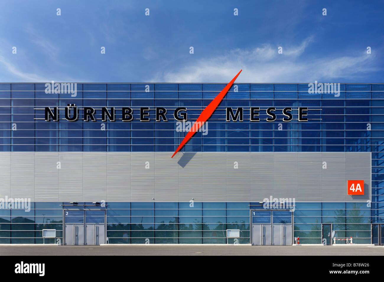 Exhibition hall at Nuremberg Messe with logo, exibition area, Nuremberg, Middle Franconia, Bavaria, Germany, Europe - Stock Image