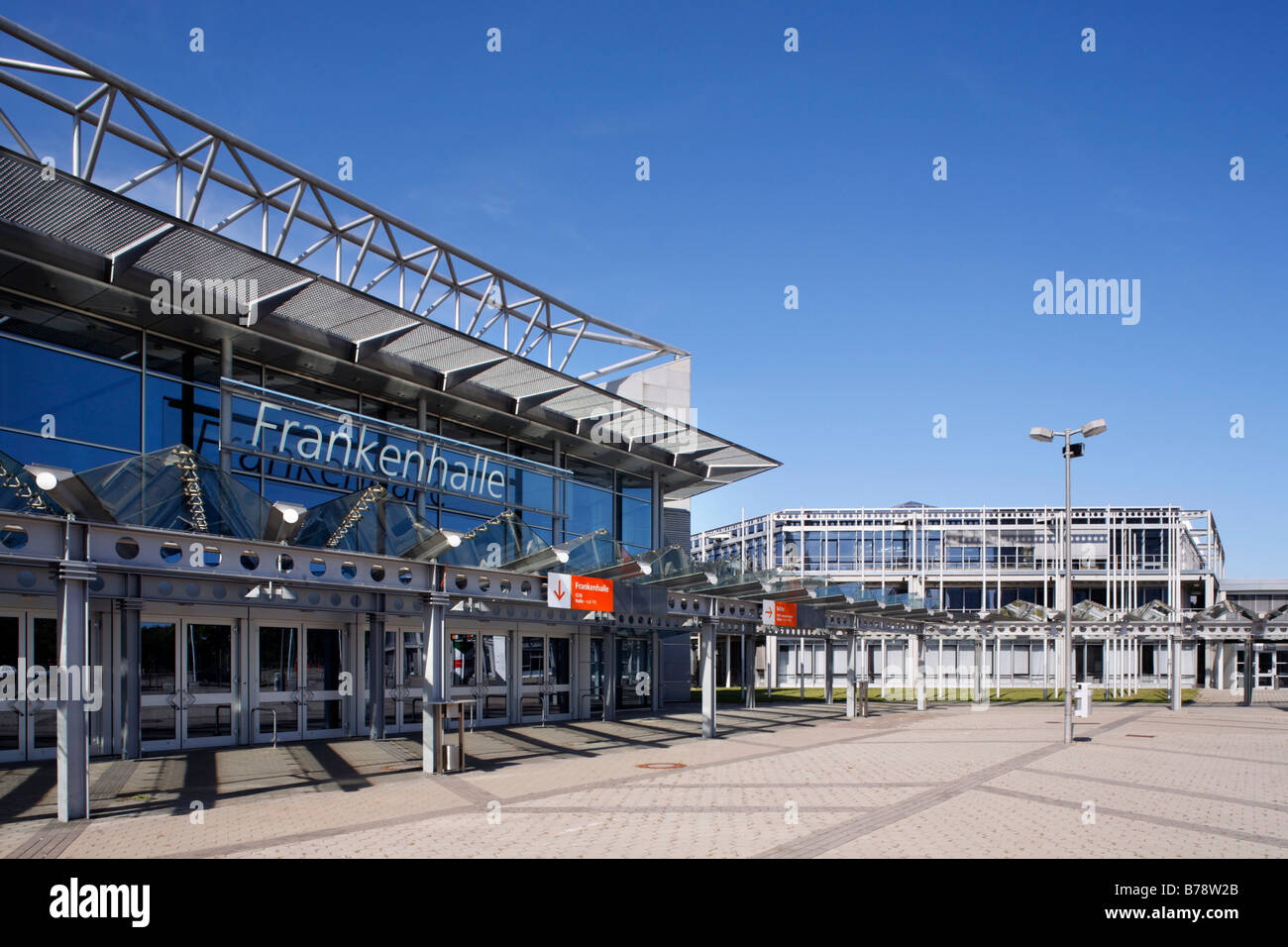 Main entrance Frankenhalle, exhibition hall, concert hall, exhibition area, Nuremberg, Middle Franconia, Bavaria, - Stock Image