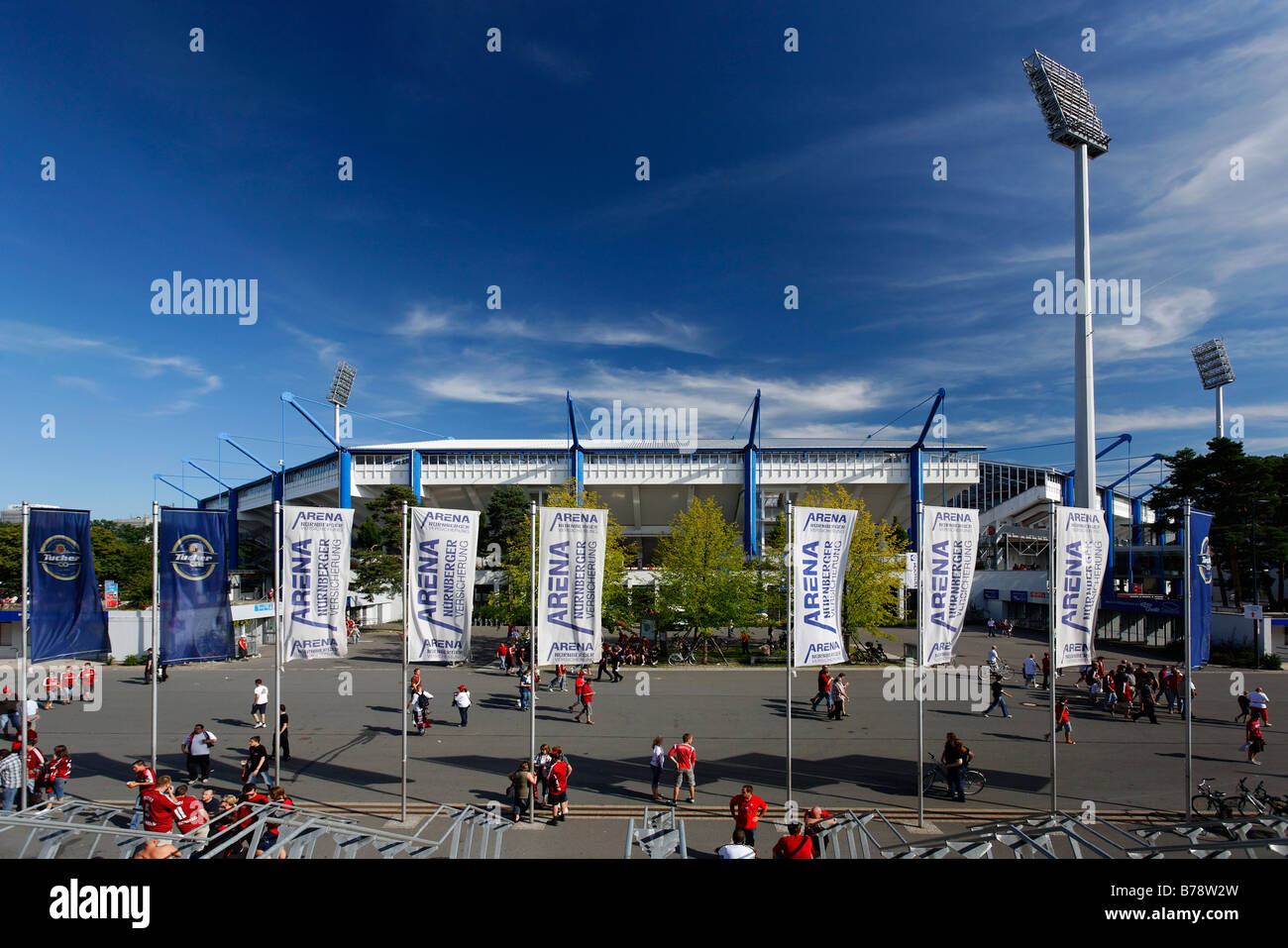 Frankenstadion, Easy Credit Stadium after soccer match, flags, light towers, audience, Nuremberg, Middle Franconia, - Stock Image