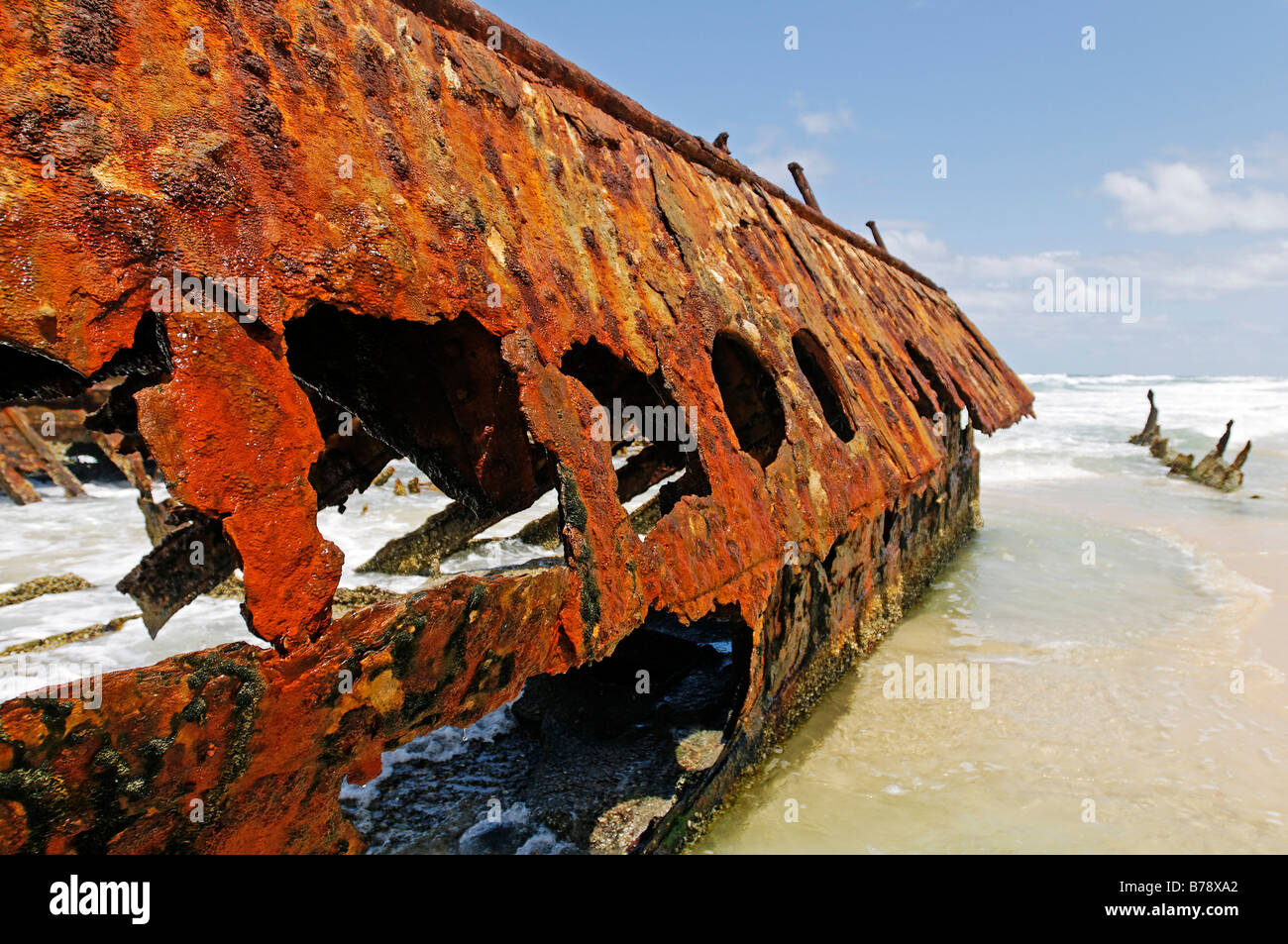 Wreckage of the Maheno on the 75-Mile Beach, Fraser Island, Queensland, Australia - Stock Image