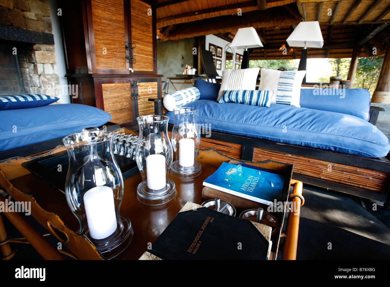 The lounge area at the Matetsi Safari Lodge Stock Photo