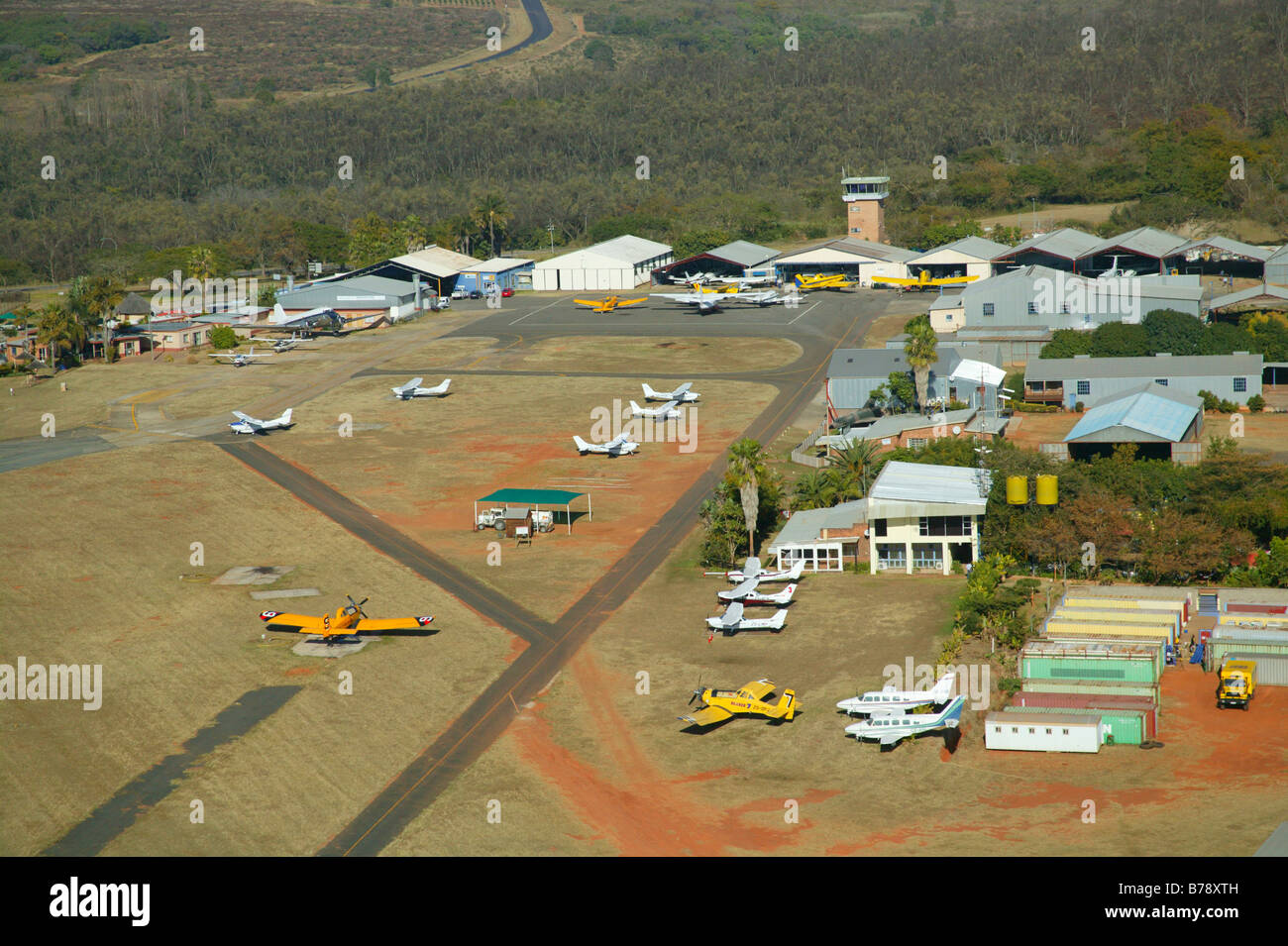 Aerial view of the Nelspruit airfield on the outskirts of Nelspruit - Stock Image