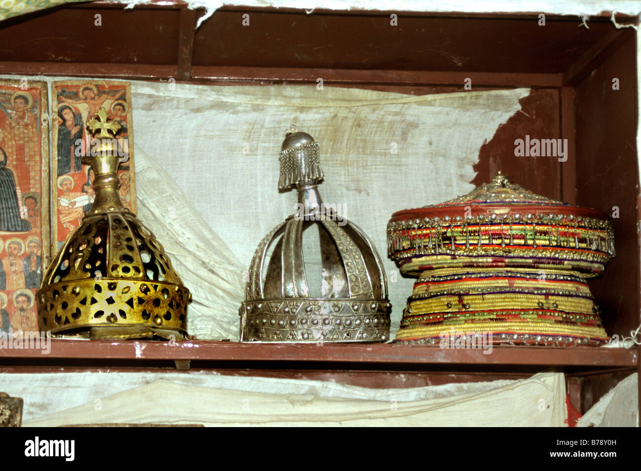 A selection of crowns used in religious ceremonies Lalibela Na'akuto La'ab church - Stock Image