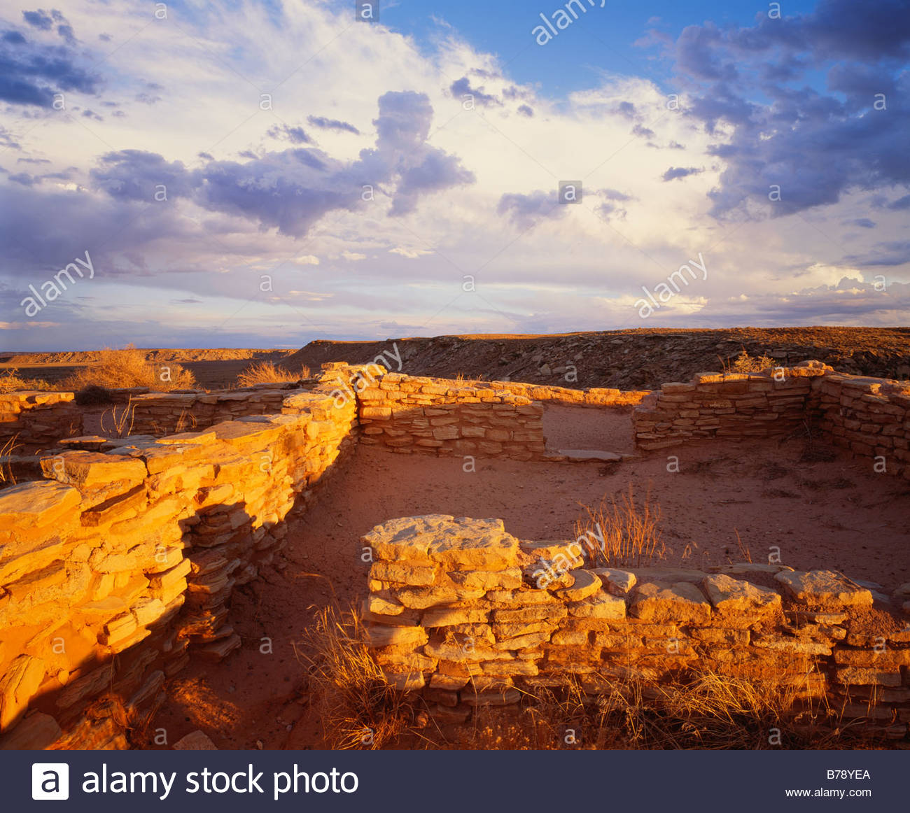 Ruins of the Puerco Pueblo ca A D 950 1300 Anasazi culture Petrified Forest National Park Arizona - Stock Image
